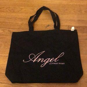 Victoria's Secret Black canvas tote bag VS Angel